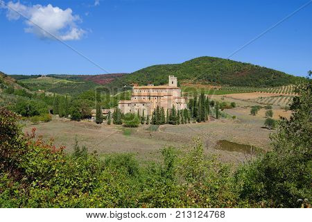 A view of the medieval Abbey of San Antimo on a sunny afternoon. Italy