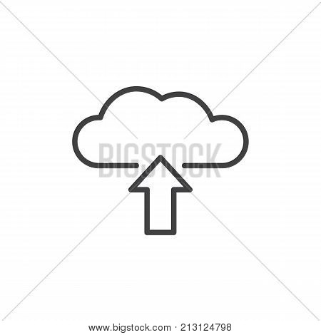 Upload from cloud line icon, outline vector sign, linear style pictogram isolated on white. Cloud with arrow up symbol, logo illustration. Editable stroke