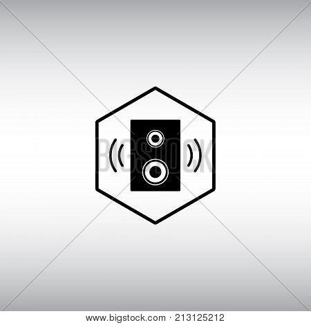 Speaker flat vector icon. Speaker isolated vector sign. Dynamic hexagon badge.