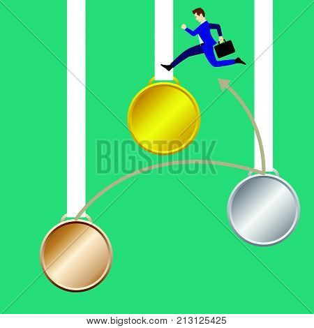 Business Concept As A Businessman Is Highly Jumping Across From Hanging Bronze Silver To Gold Medals Respectively. It Means Continuing Achieve Succeed More Significant Valuable Great Goal