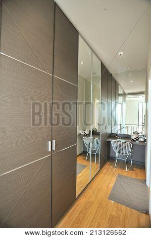 Modern closet room in modern new home