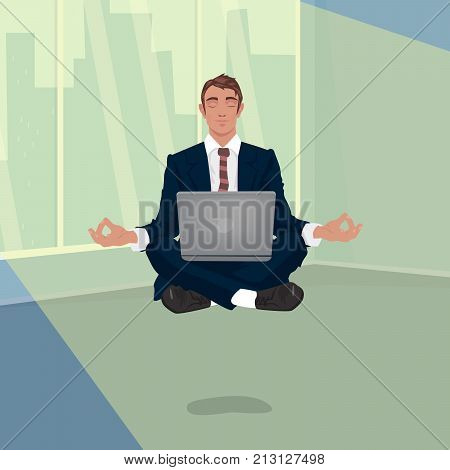 Businessman Hovering In Office In Lotus Pose