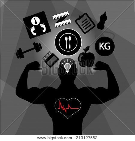 Best Foods For Muscle Growth Infographic. Isolated On Black Backgound.health Food, Diet, Products, F