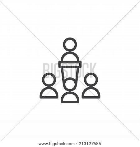 Orator speaking from tribune line icon, outline vector sign, linear style pictogram isolated on white. Business team symbol, logo illustration. Editable stroke