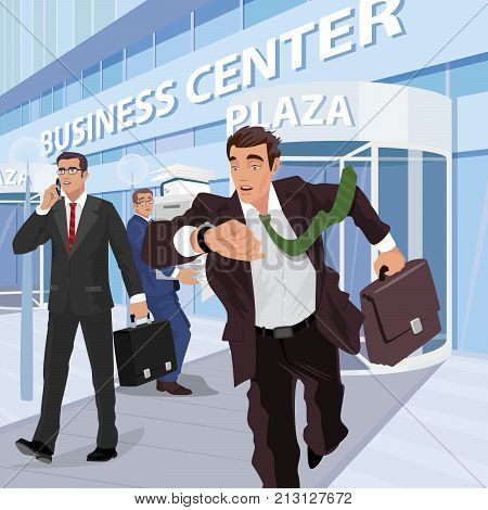 Busy Businessmen Near Of Business Center