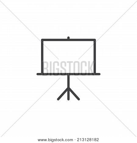 Whiteboard line icon, outline vector sign, linear style pictogram isolated on white. Projector screen symbol, logo illustration. Editable stroke
