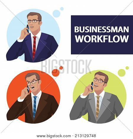 Round Icons Set With Businessmen Talking On Phone