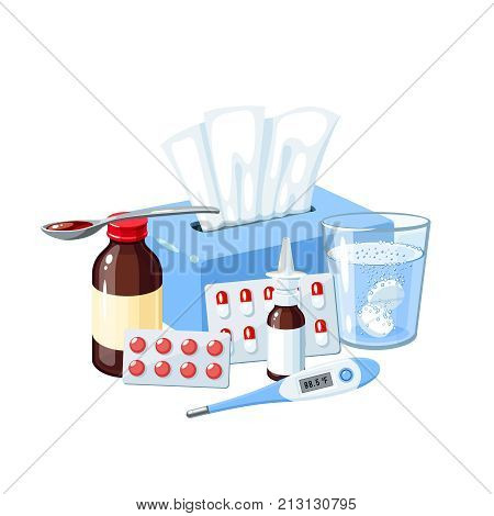Medication for sore throat flu influenza cough: medicine syrup ice bag lozenges pills capsules drugs. Vector illustration cartoon icon poster on white.