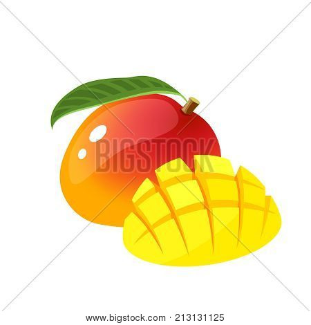 Summer fruits for healthy lifestyle. Mango, whole fruit with leaf and cubic slices. Vector illustration cartoon flat icon isolated on white.