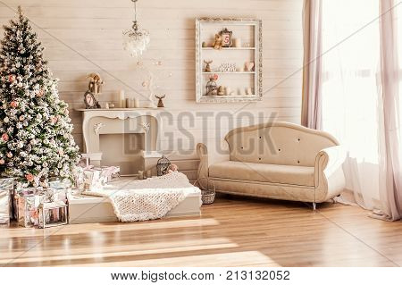Christnas Eve, Fireplace Decorations In White Room
