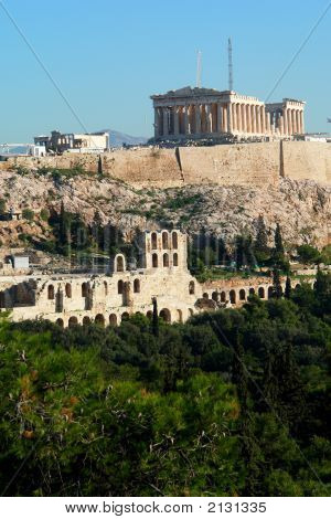 Acropolis And Parthenon From Philopappos Hill In Athens