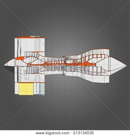 Turbo jet engine aircraft. Vector line illustration.