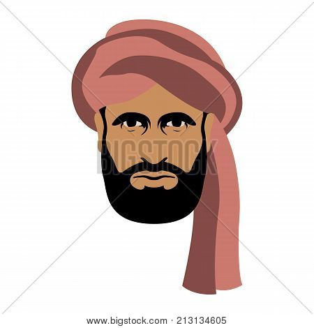arab man face in turban vector illustration flat style