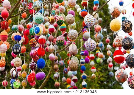 Easter Decoration From Colorful Eggs