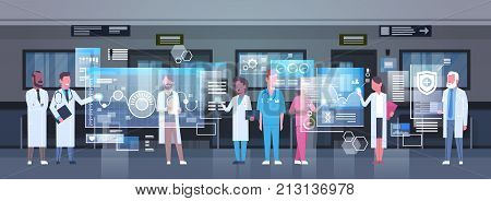 Group Of Medical Doctors Using Digital Monitor Working In Hospital Medicine And Modern Technology Concept Flat Vector Illustration