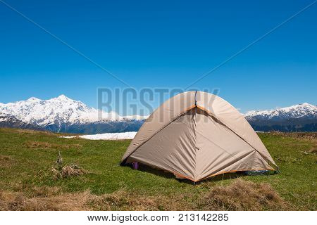 Tent Close-up, On The Green Mountain Meadow