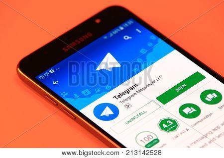 New York, USA - October 29, 2017: Telegram application in Play Store. Telegram mobile application in smartphone.
