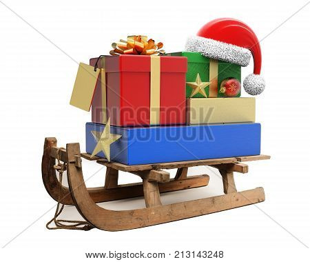 Sledge with Christmas presents and Santa Claus hat isolated on white background 3D rendering