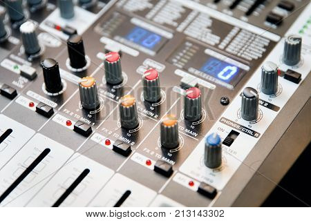 Image Of Musical Amplifier Sound Amplifier Or Music Mixer With Knobs, Jack Holes And Mic Connectors