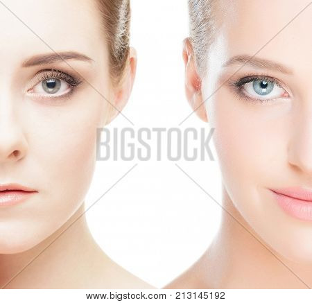 Close-up collage of a two female portraits. Face lifting, skincare, pampering and spa concept.