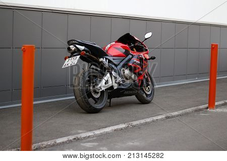 Krasnoyarsk, Russia - June 20, 2017: Red And Black Sportbike Honda Cbr 600 Rr 2005 Pc37