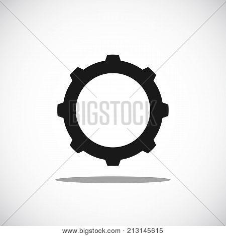 Simple black cogwheel. Illustration of mechanical element