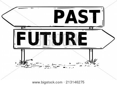 Two Arrow Sign Drawing Of Past Or Future Decision