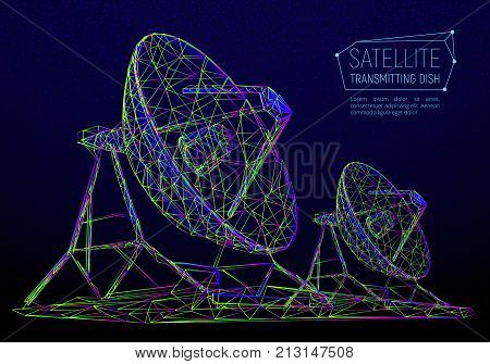 Colorful Abstract Polygonal Satellite Dish For Space Exploration