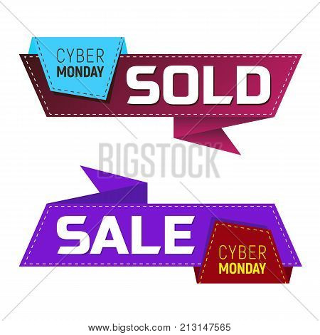 Cyber Monday Sold And Sale Banners Or Labels For Marketing Promotion