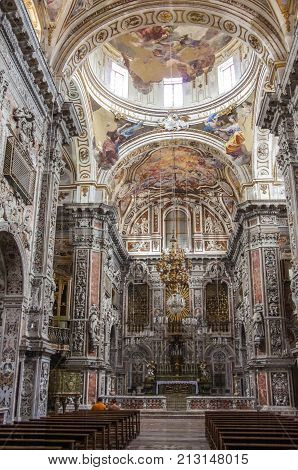 Palermo, Italy - September 7, 2017: Interior of baroque church Chiesa di Santa Caterina in Palermo Italy.