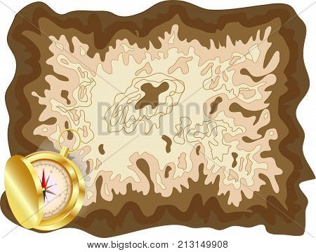 Pirate Old Map On Yellow Parchment With Golden Compass Lying On It With A Slightly Opened Lid, Encry