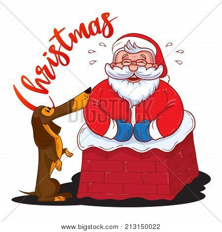Funny Cartoon Santa Claus Stuck In The Chimney And And Brown Dachshund - Symbol Of The Year