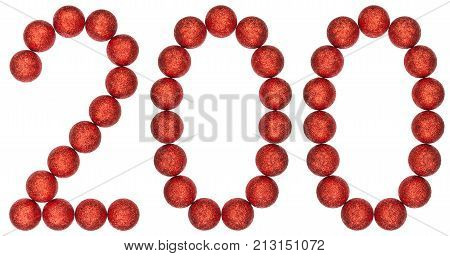 Numeral 200, Two Hundred, From Decorative Balls, Isolated On White Background