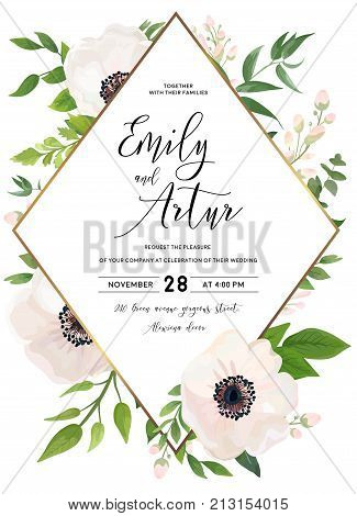 Wedding invite invitation save the date card design: white pink Anemone poppy flower green leaves eucalyptus greenery foliage forest bouquet and golden phombus frame. Vector rustic postcard layout