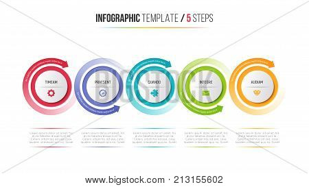 Five steps infographic process chart with circular arrows. 5 options vector template for presentations, data visualization, layouts, annual reports, web design.