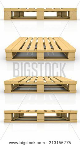 Set of wooden pallet. Isolated on white background. 3d illustration