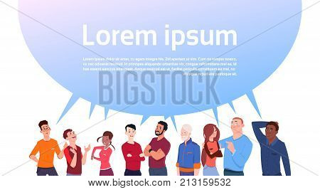 Group Of People With Big Chat Bubble Copy Space Mix Race Cartoon Men And Women Social Media Communication Or Idea Concept Flat Vector Illustration