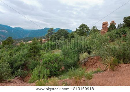 garden of the gods national natural landmark and mountain landscape in colorado springs colorado