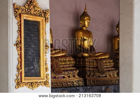 BANGKOK, THAILAND - OCTOBER 31, 2017: Wat Pho temple inside. Tablets with written knowledges. The first open university of Siam.
