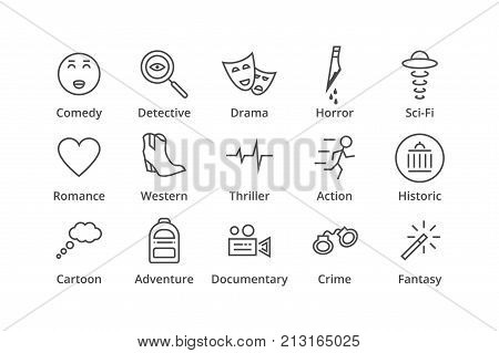 Genres. Include detective, comedy, sci-fi action thriller etc