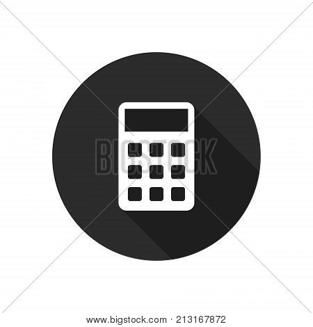 Calculator icon isolated on round background. Calculator silhouette. Vector button.