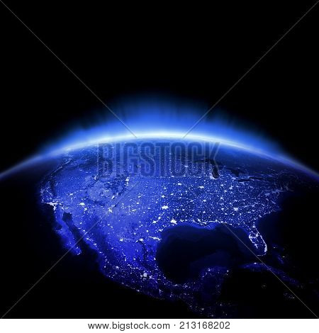 USA. Earth lights 3d rendering, maps courtesy of NASA