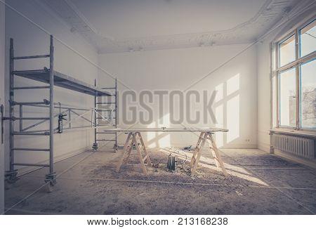 home renovation - room during renovation / restoration poster