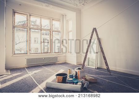 renovation concept - room during restoration -