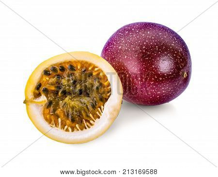 Passion fruit on white background Passion fruit on white