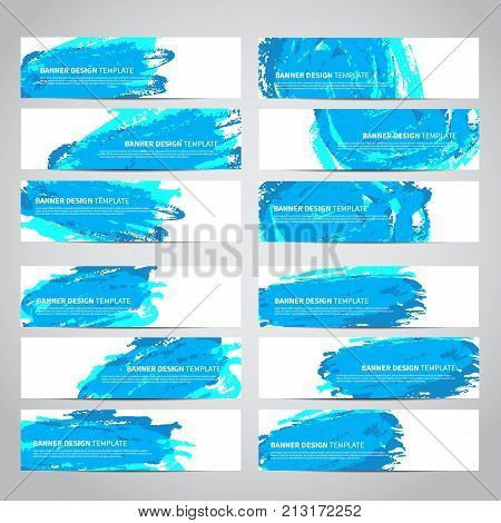 Banners. Set of trendy blue vector banners template or website headers with watercolor imitation background. Advertising banners with blue watercolor spots. Design for banner. card, header, background