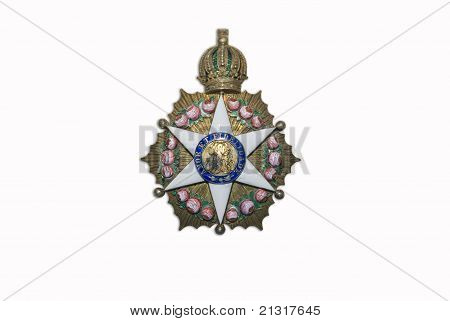 Photo of a military award isolated on a white background poster