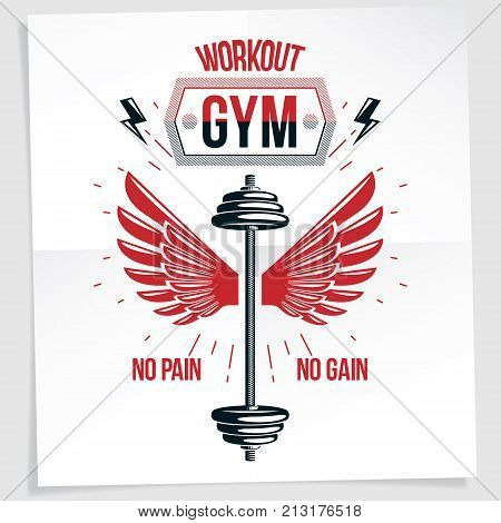 Power lifting competition poster composed with barbell sport equipment and other graphic vector elements. No pain no gain lettering.