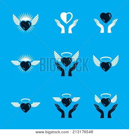 Guardian angel vector conceptual emblems collection graphic illustrations for use in religious organizations