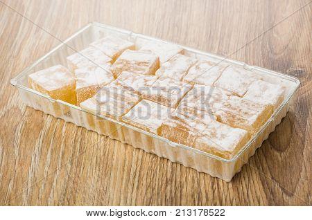 Rakhat-lukum In Plastic Box On Table